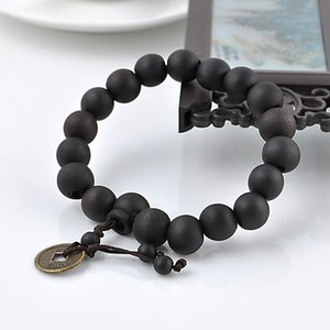 12mm Big Wood Bead Black Brown Color Beads Bracelet Yoga Meditation Buddha Bracelet For Men Handmade Jewelry Accessories Pulsera