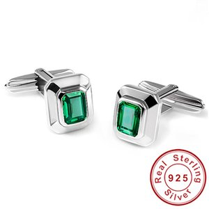 Nano Russian Emerald Vintage Cufflinks For Men Solid 925 Sterling Sliver Gem Stone Fashion Hot 2015 Brand New Fabulous Jewelry