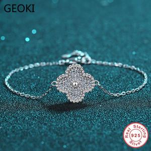Geoki Passed diamant test 0,42 CT parfait Cut Moissanite Trèf Argent 925 D Couleur diamant Bracelets Bijoux
