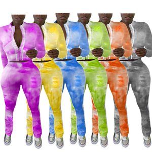Casual Women Sportwear Tracksuits Two-Piece Set With Tie-Dye Printing Lady Stand Collar Zipper Coats HIgh Waist Pants Tracksuits