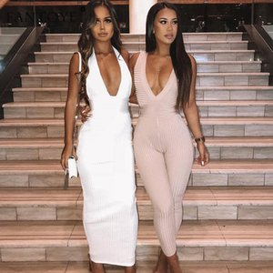 Fantoye Women Halter V-neck Party Dresses 2019 Autumn Summer Knitted Sexy Slim Bodycon Bandage Long Maxi Dress Vestidos high quality 2020