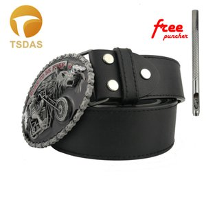 New Fashion Born to Be Free Motorcycle Rider Lobo fivela de metal apropriado do homem ocidental por quatro centímetros Largura Belt