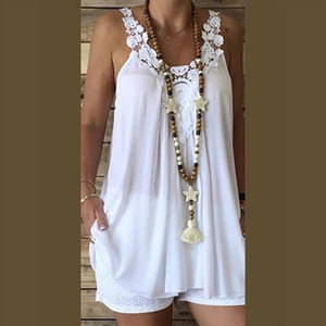 Women Clothes 2020 Summer Fashion Sleeveless Casual Backless Sling Lace Splice Loose Soild Female Tank Tops Vest Debardeur Femme