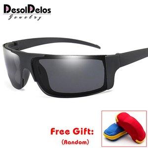 DesolDelos Polarize Güneş Gözlüğü Erkekler Rimless Spor Sürüş Güneş Gözlükleri Kadın Ayna Gözlükler UV400 masculino gafas de sol kutusuyla