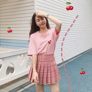 New Women Skirts Mini Plaid Summer Skirt 2020 High Waist Stitching Student Pleated Cute Sweet Girls Dance Female