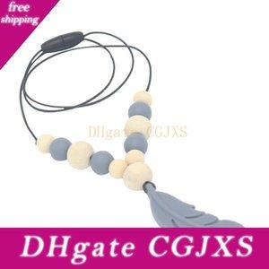 Silicon Feather Toy Massaggiagengive ciondolo Infermieristica piuma collana per bambini che giocano regalo di compleanno del bambino