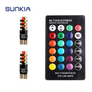 SUNKIA 2pcs set T10 COB RGB LED Car Lamp Suit with Remote Controller(without battery) Signal Clearance Width Parking Light
