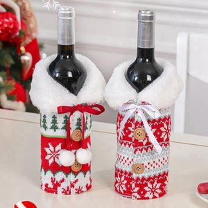 New Christmas Wine Cover With Bow Elk Snowflake Knit Bottle Clothes Wine Bottle Cover Xmas Wine Bag Christmas Ornament Decoration CYZ2743