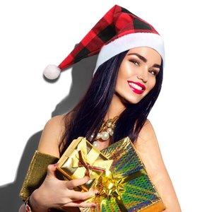 Plaid Hat Noël Joyeux Noël Bufflao Plaid Casquettes de Noël Décoration de Noël 2020 Party Cadeau OOA8375