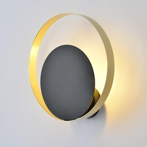 Nordic modern led wall light G9 gold black round creative bathroom mirror lighting fixture stair aisle bedroom bedside wall lamp