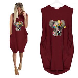 Tasarımcı Tişört Elbiseler 3D Fil Yaz Elbise Moda Bayan Casual Kadın Giyim Artı boyutu Gevşek Womens yazdır