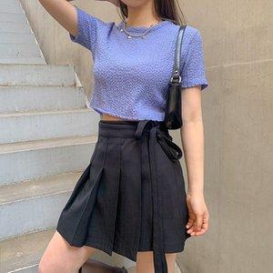 2020 / A Newdarlingaga Hong Kong estilo de Meninas Lace-up cintura alta saia plissada Womens Irregular emagrecimento saia preta saia Pants All-ma