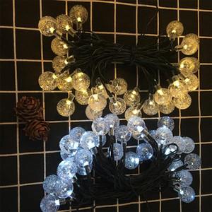 LED réutilisables solaires Guirlandes 30 Ampoules étanche Crystal Ball Party Éclairage de camping Jardin Maison de Noël 8 Modes 6.5m