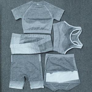 Herbst Wintermode Womens Dicke Yoga Anzug Gymshark Sportbekleidung Trainingsanzüge Fitnesssport Fünf-teiliges Set 5 stücke BH Leggings Outfits Plus Größe