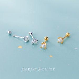 Modian 925 Sterling Silber Kleine echte Perle-Bolzen-Ohrringe für Frauen-Goldfarbe Silber edlen Schmuck Ohrringe für Frauen Geschenke