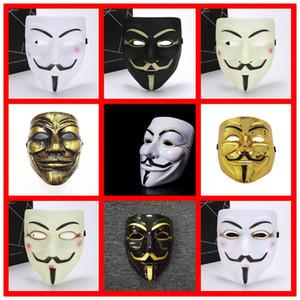 Maschere nuova maschera di faida bianco giallo Maschera Anonymous Guy Fawkes Fancy costume adulto Halloween Masquerade V maschere per Halloween DHB1269