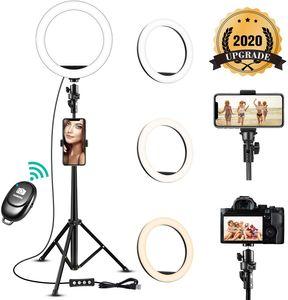 8 '' Selfie Ring Light مع حامل ترايبود قابل للتعديل ترقية خافتة ضوء خاتم خاتم مع حامل الهاتف لاجهزة ماكياج فيديو حية