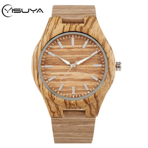 YISUYA 스트립 코르크 우드 나무 시계 남자 시계 다이얼 나무 선물 간단한 ZEBRAWOOD 라운드 가죽 브라운 쿼츠 시계 빈티지 2020 MLXUD