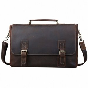 Pastas Homens 16 Laptop Bag Grande Couro Vintage Leather Satchel Messenger Bags Bolsa de Ombro Brown 8069 eHIY #