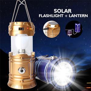 Solar LED Camping Lanterna solare portatile del caricatore di emergenza Lanterna da campeggio Lanterne a mano impermeabile ricaricabile manovella della luce della lampada