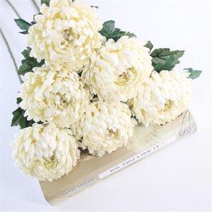7pcs falso solo tallo de la piña del crisantemo crisantemos de simulación de la Ronda de boda Inicio escaparate decorativo Flores Y200104