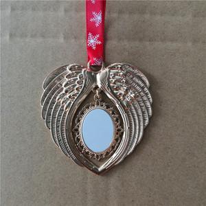 vendita calda 8 stili sublimazione ornamento di Natale di natale decorazioni angelo ali forma rotonda calda di trasferimento dono stampa sllipse vuoto