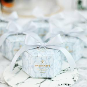 Casamento Marbling Papel Doces Presentes Caixa Dessert Bags Wedding Favores presentes para os hóspedes Batismo Lembrança Festa Decoração Favor Suportes