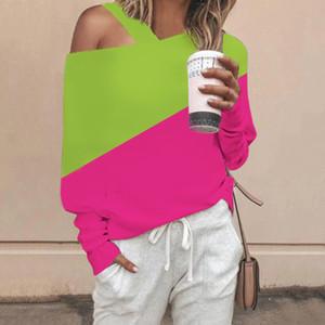 Womens Designer Camiseta Primavera Outono queda manga comprida Corte Neck Painéis Tees Moda Tops Feminino Casual