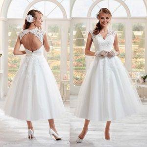 Vintage 50s Short Wedding Dresses 2020 Stylish Design V-Neck Cap Sleve Backless Tea Length A-Line Tulle Lace Bridal Gowns Vestid