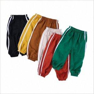 Enfants d'été Anti Mosquito Pantalons Garçons Pantalon rayé en coton lin lanternes Pantalons Boutons Casual Bloomers Air conditionné Knickerbockers G00T #