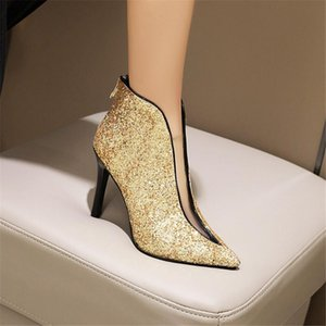 Winter women's nude boots high heels dress shoes pointed toe boots black sequins thin heel high heels women's shoes single