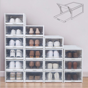 Baffect 3pcs / lot Las cajas de zapato zapatero apilable de plástico caja de zapatos zapatos Organizador de los tacones altos zapatos de las zapatillas de almacenamiento Cajones Y200527
