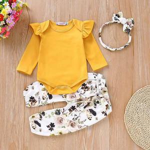 3PCS yenidoğan giyim setleri Bebek Yürüyor Bebek Kız Giyim fırfır Romper bodysuit Çiçek Halen Pantolon Kafa Kıyafetler