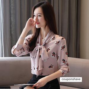 Chiffon 2019 autumn new large size elegant V-neck bow ribbon printed women's long sleeve shirt