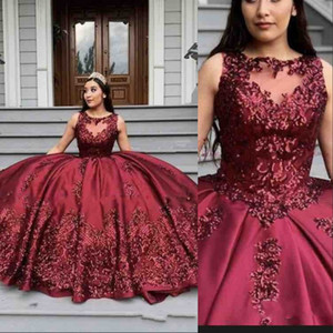 2020 New Sexy Burgundy Ball Gown Quinceanera Dresses Jewel Neck Sleeveless Tulle Sequins Lace Appliques Beads Party Prom Evening Gowns Wear