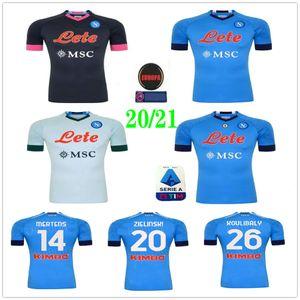 2020 2021 SSC Napoli Soccer Jersey Insigne Mertens Milik Callejon Maradona Zielinski Personalizado 20 21 Nápoles Adultos Adultos Inicio Camisa de fútbol