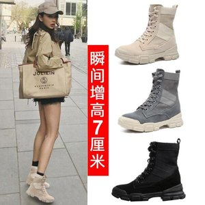 Increased Martin Boots Womens 2020 Autumn and Winter New Leather Canvas Retro All-match INS Net Red Thin Short Boots Tide
