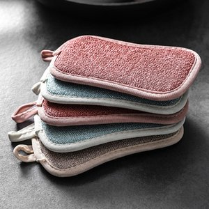 Double Sided Scouring Pads Reusable Magic Sponge Cleaning Cloth Kitchen Cleaning Tools Brush Wipe Pad Decontamination Dish Towels GWF2056