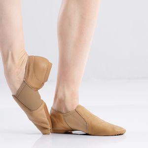Nero vera pelle di jazz scarpe morbide Dancing Shoes Sneakers Ginnastica danza slittamento unisex su Jazz Dance Shoes Tan