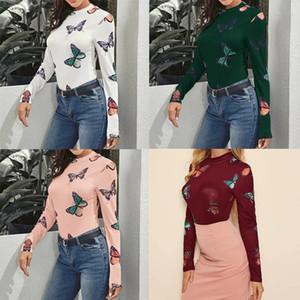 New Spring mutande farfalla donne T- mutande camicia di base della stampa farfalla collo alto 2020 T-shirt da donna