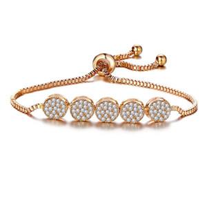 Women Diamonds Five Circular Ring Bracelets Link Chain Handwear Fashion Charm Pendant Bracelets Jewelry Valentine's Day Gift for Girlfr