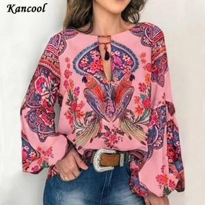 Las mujeres de Boho de la linterna de la manga larga suelta V cuello florales camisetas de los tops de las señoras del Hippie de la túnica camisa de la blusa de otoño tapas ocasionales