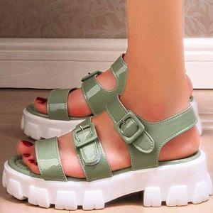 GIGIFOX Freizeit Sommer-Art- und Chunky Absatz-Plattform-Gladiator-Sandalen Schuhe Frauen