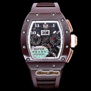 Super KVF versão RM 011-FM Skeleton Dial ETA 7750 cronógrafo mecânico RM011 Sapphire Mens Watch Brown caixa de cerâmica de borracha Esporte Watche