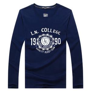 SWENEARO magliette degli uomini delle magliette autunno inverno casuale maglietta maniche lunghe in cotone uomini di marca di modo stampati camicie uomo Tee homme C0925