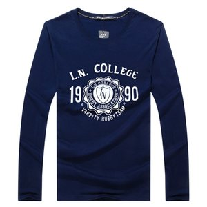 SWENEARO Tshirts Мужская футболка осень зима вскользь длинными рукавами хлопок майка мужчин бренд моды печатные Man Tee рубашки Homme C0925