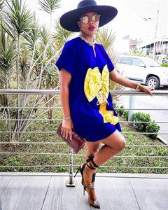 Paket Kadın Tasarımcı Gril Baskılı Günlük Elbiseler Moda Bayan Giyim Vneck Kısa Kollu Gevşek Elbise ile