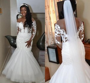Arabic Aso Ebi Mermaid Wedding Dresses 2021 Sheer Neck Long Sleeve Open Back Lace Beaded African Bride Gowns Plus Size vestidos