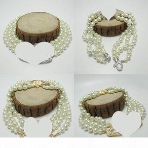 Новое прибытие 3 слоя Pearl Orbit ожерелье женщин Rhinestone ожерелье планеты спутник для подарков партии Золото Серебро