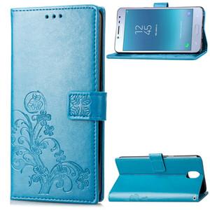 Porte-monnaie Cas de téléphone pour Samsung Galaxy (2018) J3 en PU Housse en cuir embossé chanceux à quatre feuilles de trèfle Motif (J3-2018)